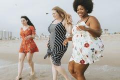 Curvy women at the beach stock photo