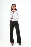 Curvy young black business woman standing relaxed Royalty Free Stock Photo