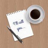 Cuscinetto in bianco di carta, della penna e del caffè Fotografia Stock