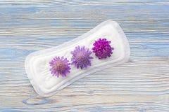 Cuscinetto molle sanitario con i fiori, protezione di mestruazione di igiene Cuscinetti quotidiani e mestruali della donna per ig Immagini Stock