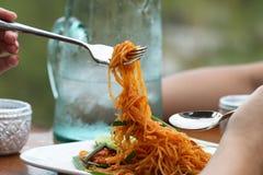 Cuscinetto tailandese di nome di chiamata della tagliatella di riso fritto tailandese Fotografie Stock