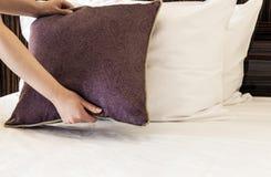 Cuscini femminili della tenuta delle mani Immagine Stock