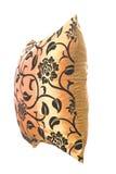 Cuscino di seta dorato con gli ornamenti neri Immagini Stock Libere da Diritti