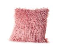 Cuscino lanuginoso rosa, isolato Immagini Stock