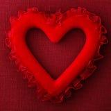 Cuscino rosso del cuore Fotografia Stock Libera da Diritti