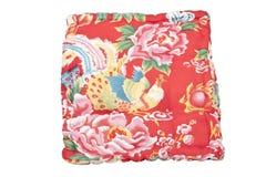 Cuscino rosso della bella annata con l'uccello Immagine Stock