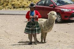 CUSCO, ΠΕΡΟΎ - 10,2015 ΝΟΕΜΒΡΊΟΥ: Περουβιανή γυναίκα στο εθνικό ύφασμα στοκ εικόνα με δικαίωμα ελεύθερης χρήσης