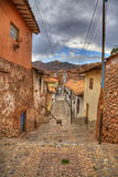 Cusco. A typical old street in central part of Cusco, Peru. HDR image royalty free stock image