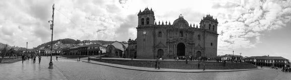 Cusco architektury Panoramiczny Czarny I Biały Zdjęcia Stock