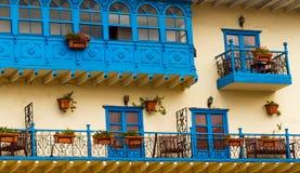 Cusco Balconies. Blue balconies in Cusco, Peru royalty free stock image