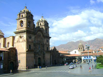 Cusco cathedral. Cuzco cathedral and square traditional houses and shops stock images