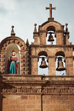 Cusco Cathedral. Detail of the decorated facade of the historic Cathedral in the Plaza de Armas of Cusco, Peru. Construction of the Cathedral dates back to 1560 Stock Photography