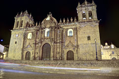 Cusco cathedral, Peru. The cathedral built by the spanish conquerers in the Plaza de Armas, Cusco, Peru Royalty Free Stock Images