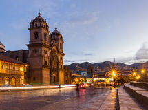 Cusco Cathedral after sundown Royalty Free Stock Photo