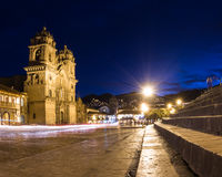 Cusco Cathedral after sundown Stock Image