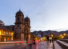 Cusco Cathedral after sundown Stock Images