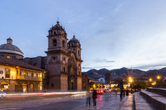 Cusco Cathedral after sundown Royalty Free Stock Photos