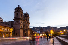 Cusco Cathedral after sundown Royalty Free Stock Image