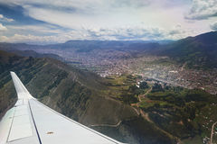 Cusco city from plane view Royalty Free Stock Images