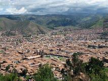 Cusco cityscape view in Peru. Cuzco city overview in Peru Stock Image