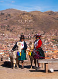 Cusco 9 July 2011 Quechua indigenous womans welcomes tourists Stock Images