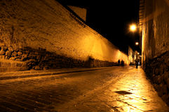 Cusco at night. A view of a street at night in Cusco, Peru stock photography