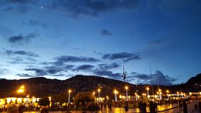 Cusco at night. Plaza de Armas in Cuzco with a beautiful sky Stock Photos