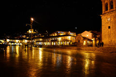 Cusco på natten Royaltyfri Foto