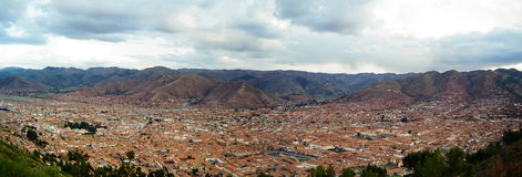 Cusco Panorama, Peru. A panoramic view of Cusco, the historic capital of the Inca Empire, Peru stock photo