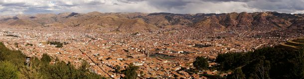 Cusco Panorama in Peru. Buildings stock photography
