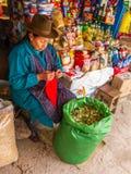 Cusco, Perú - 13 de diciembre de 2011: Hojas de ofrecimiento de la coca de la mujer local imágenes de archivo libres de regalías