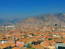 Aerial view of Cusco, Peru. Amazing view of Cusco, Peru royalty free stock photos