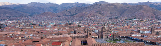 Cusco, Peru, in the Andes Mountains. Panaroma of Cusco, Peru, capital of the Inca Empire Royalty Free Stock Images