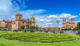 CUSCO, PERU - 25 APRIL 2017: Cusco, Peru - - Plaza de Armas and Church of the Society of Jesus Royalty Free Stock Images