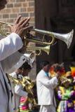 CUSCO PERU, CZERWIEC 06, 2016 nieznane muzycy mosiężny zespół o - Fotografia Stock