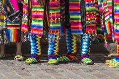 CUSCO PERU, CZERWIEC 06, 2016: - Peruwiańscy tancerze przy paradą wewnątrz Obraz Royalty Free