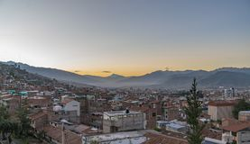 Cusco, Peru in the early morning. The sun rises over Cusco, Peru, the former capital of the Incan Empire Royalty Free Stock Photography