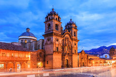 Cusco, Peru. Cusco, Peru the historic capital of the Inca Empire. Plaza de Armas at twilight stock photography