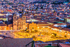 Cusco, Peru. Cusco, Peru the historic capital of the Inca Empire. Plaza de Armas at twilight Royalty Free Stock Photo