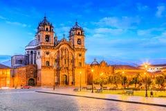 Cusco, Peru. Cusco, Peru the historic capital of the Inca Empire. Plaza de Armas at twilight Royalty Free Stock Photography