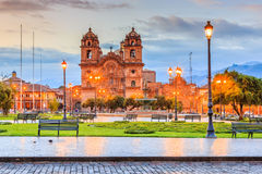 Cusco, Peru. Cusco, Peru the historic capital of the Inca Empire. Plaza de Armas at twilight stock photo