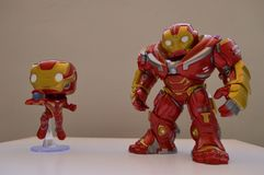 Cusco, Peru, July 1, 2018: Funko pop of Iron Man and HulkBuster. New funko pops from Iron Man and Hulkbuster from the movie Avengers Infinite War stock image
