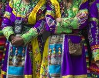 CUSCO - PERU - JUNE 06, 2016 : Peruvian dancers at the parade in Stock Photos