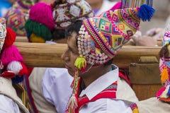 CUSCO - PERU - JUNE 06, 2016 : Peruvian dancers at the parade in Royalty Free Stock Photos