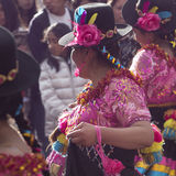 CUSCO - PERU - JUNE 06, 2016 : Peruvian dancers at the parade in Royalty Free Stock Photography