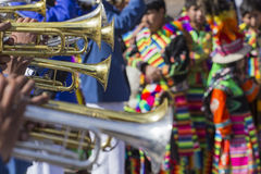 CUSCO - PERU - JUNE 06, 2016 Unknown musicians of a brass band o Royalty Free Stock Photography