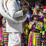 CUSCO - PERU - JUNE 06, 2016 Unknown musicians of a brass band o Royalty Free Stock Photos