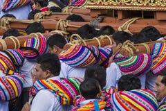 CUSCO - PERU - JUNE 06, 2016 : The unknown Peruvian people participating in a religious holiday in Cuzco, Peru stock photo