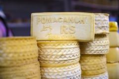 Artisanal Peruvian Pomacanchi hard cheese. stock photo