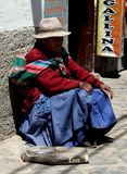 Cusco Peru/2nd September 2013/ An old woman with an even older s stock photography